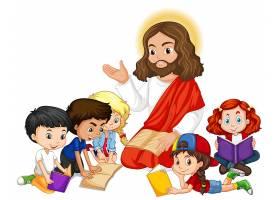 耶稣给一个儿童团体的卡通人物讲道_9741637