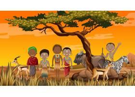自然界背景下的非洲部落传统服饰民族_10108515