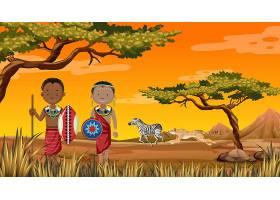 自然界背景下的非洲部落传统服饰民族_11863604