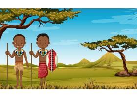自然界背景下的非洲部落传统服饰民族_12321367