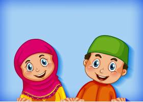 色彩渐变背景下的幸福穆斯林夫妇_10163251
