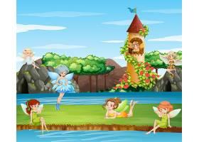 花园里仙子飞舞的场景_6409122
