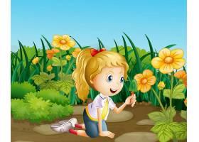 花园里拿着铲子的女孩_5371919