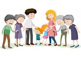 白色背景的家庭卡通人物中的一员_13225418