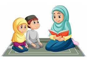 穿着传统服装的阿拉伯穆斯林家庭在白色背景_9181729
