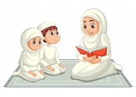 穿着传统服装的阿拉伯穆斯林家庭在白色背景_9181975