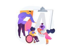 残疾儿童教育幼儿园里坐轮椅的残疾儿童_12146087