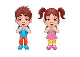 滑稽的小男孩和小女孩向卡通孤立的人物矢量_1053781