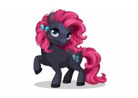 漂亮的黑色小马驹粉色发型矢量插图_7038509