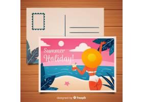 手绘比基尼女孩夏季明信片_4297427