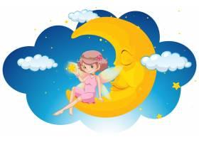 晚上坐在月亮上的可爱仙女_1999657