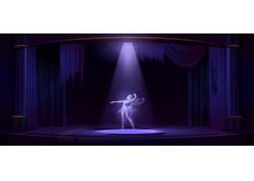 晚上幽灵芭蕾舞女演员在老戏院的舞台上跳_13243290