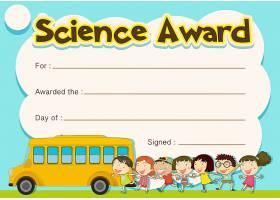 证书奖有儿童和校车背景_5912896