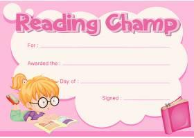 阅读冠军证书与女孩阅读书籍_5371918