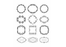 圆形黑色矢量复古花卉装饰框和边框_10700731