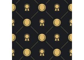 月桂花环和徽章无缝图案背景是金色的徽章_11058803