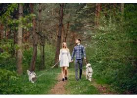 一对美丽的夫妇带着一条狗在夏天的森林里_5011119