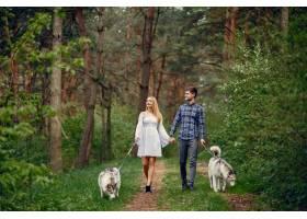 一对美丽的夫妇带着一条狗在夏天的森林里_5011120