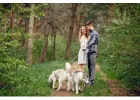 一对美丽的夫妇带着一条狗在夏天的森林里_5011121