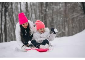 母亲和女儿在冬季公园的盘子上骑车_3962723