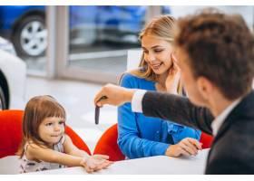 母亲带着女儿在汽车展厅买车_5157741