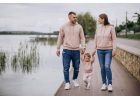 年轻的一家人带着他们年幼的孩子在湖边的公_4758358