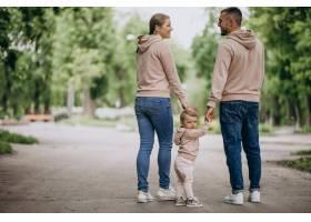 年轻的家庭带着他们年幼的孩子在公园里_4758343