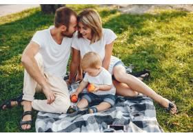 带着儿子的一家人在夏季公园玩耍_4184913