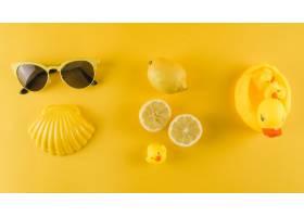 太阳镜扇贝黄色背景上的柠檬和橡胶鸭_4538121
