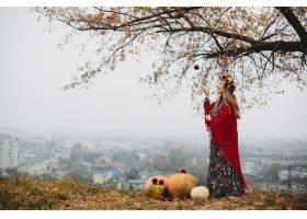 女性肖像穿着长裙和红色衣服的迷人孕妇_4563908