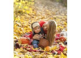 妈妈和宝宝坐在野餐毯子上_5253391