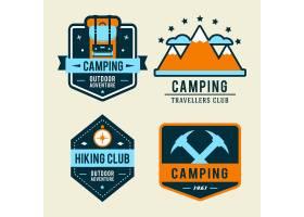 露营平台配有徒步旅行设备和户外烹饪图标_3332346