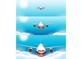 飞机在空中飞行的三个场景背景_4923742