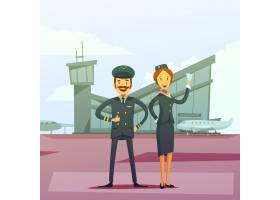 飞行员和空姐卡通背景_4267623