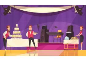 餐厅或咖啡馆的服务人员在紫色背景卡通上准_7250437