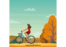 骑着自行车和秋景的女人_1256020