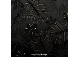 黑色和金色热带树叶背景_4256981