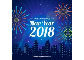 蓝色新年背景城市和烟花_1386237