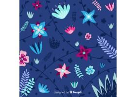 蓝色背景上平坦美丽的植被_5367515