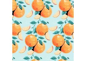 蓝色背景上的橙色图案_8804120