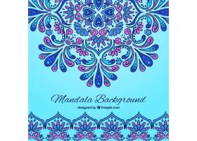 蓝色背景曼陀罗和紫色细节_1147610