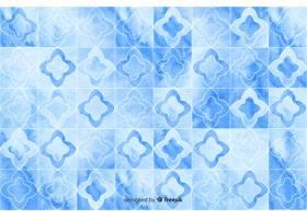 蓝色调的水彩马赛克背景_5498315