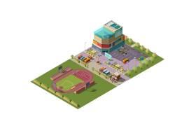 购物中心和体育场等距矢量_4015133