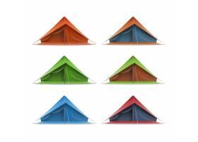 绿色红色蓝色旅游帐篷矢量集用于旅行_11058686