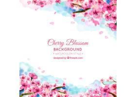 美丽的水彩樱花背景_1052796