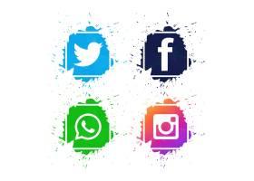 美丽的社交媒体图标设置了设计矢量_2759403