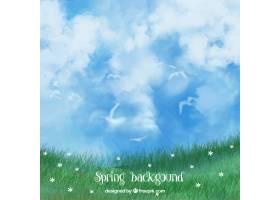 草地背景和美丽的水彩画天空_1041355