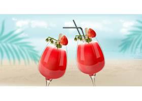草莓鸡尾酒背景是海滩海水和棕榈叶微_9641609