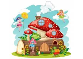 白色背景下的蘑菇木屋隔离卡通式童话_10108526