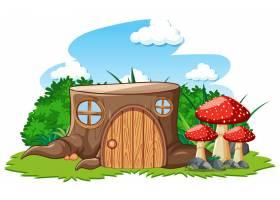 白色背景卡通风格的蘑菇树桩屋_8700604